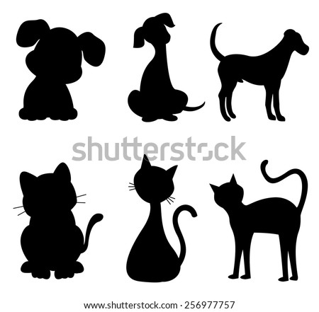 cats and dogs silhouette black