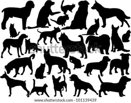 cats and dogs silhouette - vector - stock vector