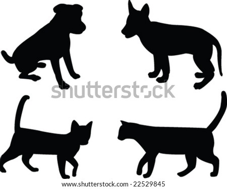 cats and dogs - vector