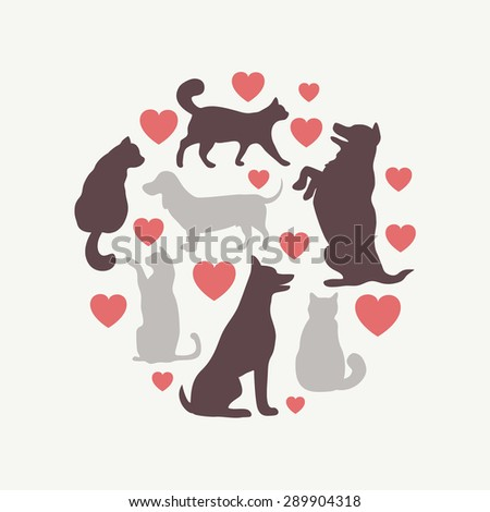 cats and dogs vector silhouette