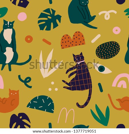 Cats and kittens abstract floral tropical collage seamless pattern in vector. Cute funny print for animal lover