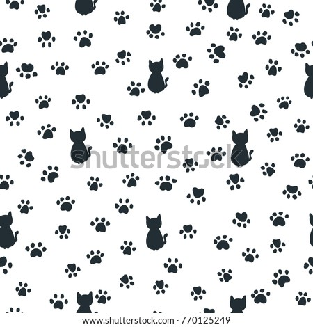 cats and paw print seamless pattern. Traces of Cat Textile Pattern
