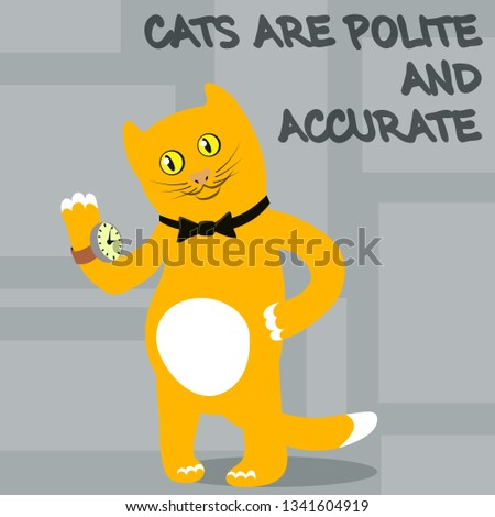 Cats are polite, accurate and neat. Vector illustration