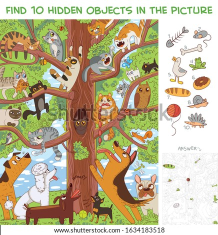 Cats are sitting on a tree. Find 10 hidden objects in the picture. Puzzle Hidden Items. Funny cartoon character stock photo