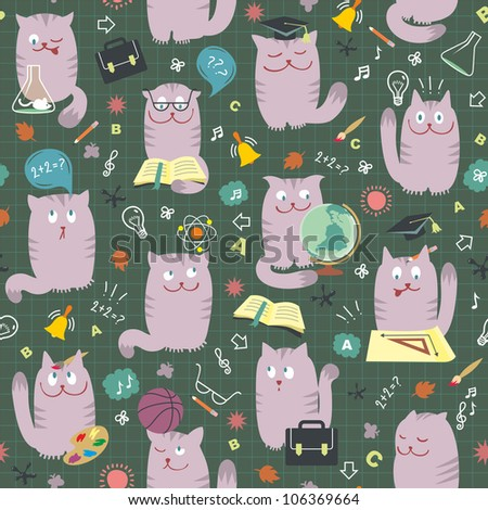 Cats At School - Vector Seamless Pattern
