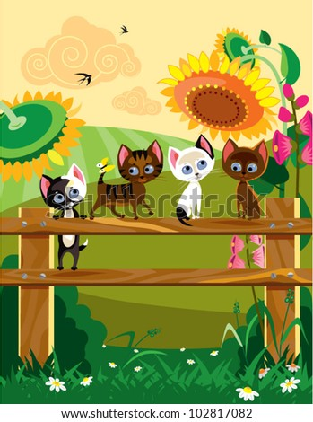 Cats at summer. The vector illustration of four young cats on palisade at summer time.
