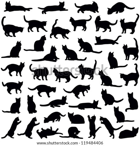 Shutterstock Cats collection - vector silhouette