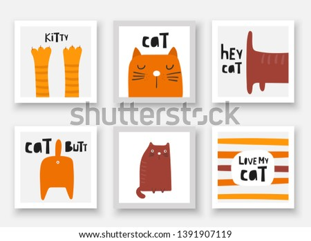 Cats collections. Cards, postcards, tags with kittens, paws, butt, tail, face, abstract elements. Illustration for adopt center, pet store
