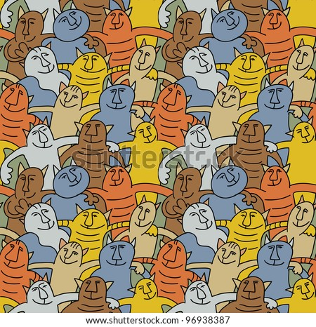 Cats color fun seamless pattern The seamless pattern with group of funny happy cats. Colored vector illustration animals
