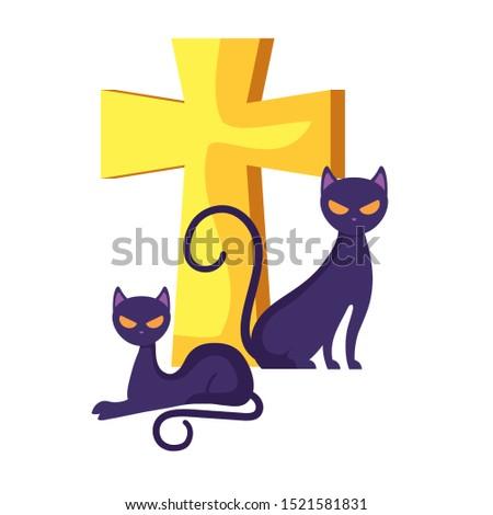 cats feline animals of halloween with cross vector illustration design