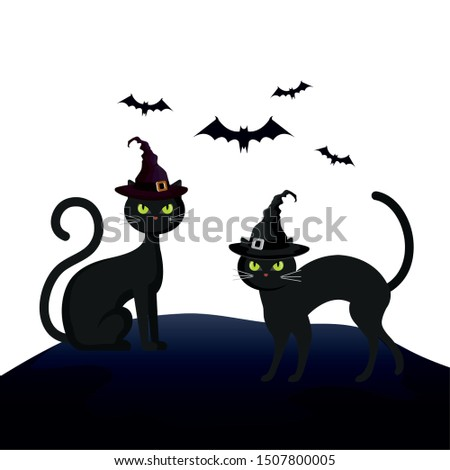 cats feline halloween with hat witch and bats flying
