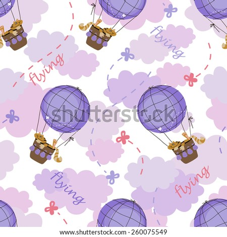 cats flying on air balloon, seamless pattern