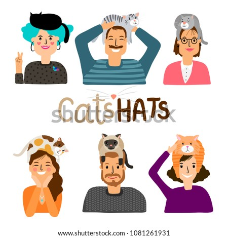 cats hats happy people with
