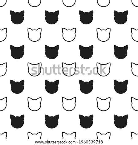 Cats heads black seamless pattern. Vector illustration.