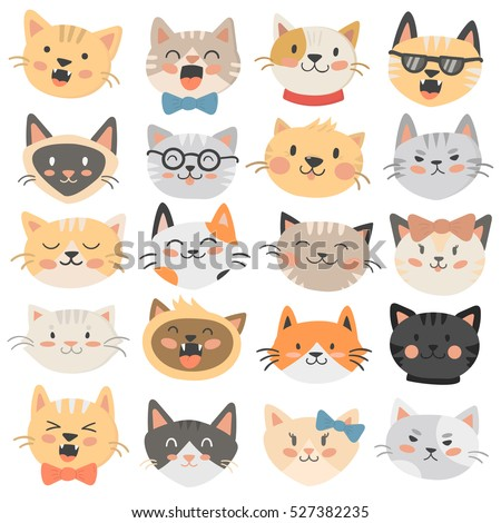 cats heads emoticons vector