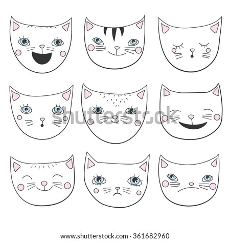 cats heads set hand drawn on a