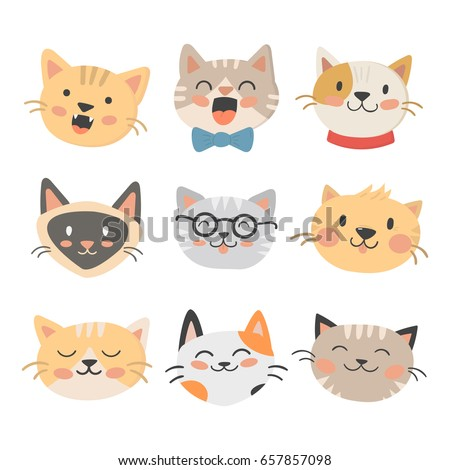 Shutterstock Cats heads vector illustration cute animal funny decorative characters feline domestic trendy pet drawn