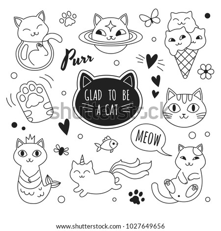 Cats icons collection. Vector illustration of cute funny doodle cats outline icons in different poses and unusual interpretation. isolated on white.