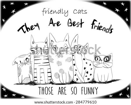 cats illustration vector