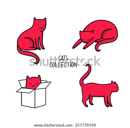 cats in different poses vector