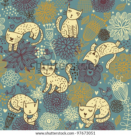 Cats in flowers. Nice seamless pattern