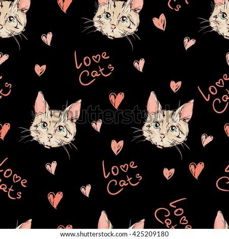 cats kittens cute sketch vector