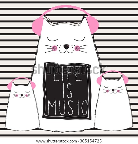 cats listening music  life is