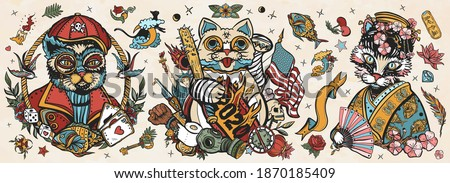 Cats old school tattoo vector collection. Unlucky lucky cat, symbol 2020 world crisis concept. Portrait of kitty geisha princess. Traditional tattooing style. Funny pets art, animals hand drawn