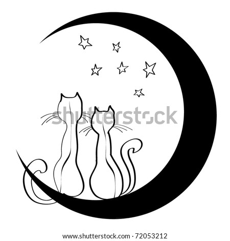 Cats on the moon. A loving couple. Dreams. A children's sketch 1