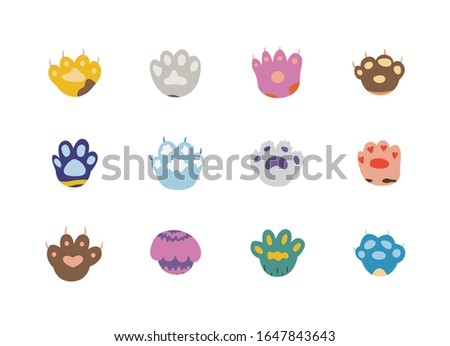 Cats or dogs paw footprints set, vector illustration isolated on white background. Colorful fantasy domestic animals paws or foot tracks icons collection.