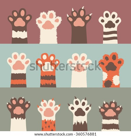 cats paw icon set, isolated on background. simple cartoon flat style, vector illustration.