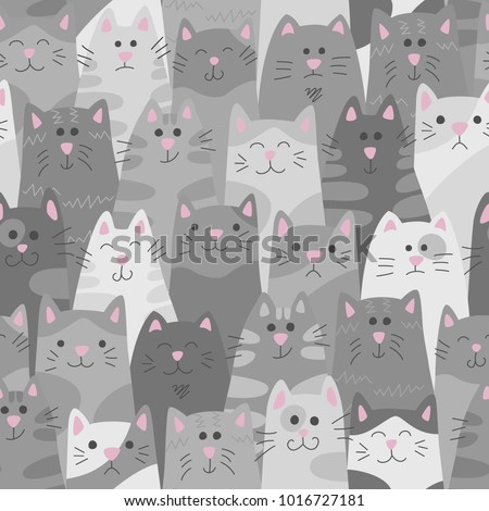 Cats. Seamless pattern in doodle and cartoon style. Grey. Vector. Eps 8
