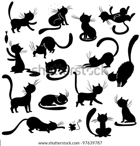 cats silhouettes   poses  vector