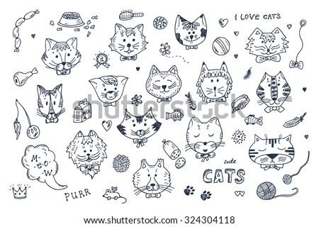cats vector set cats faces