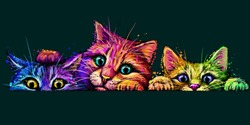 Cats. Wall sticker. Abstract, multicolored, neon portrait of three curious cats in the style of pop art on a dark green background. Digital vector graphics. The background is a separate layer.