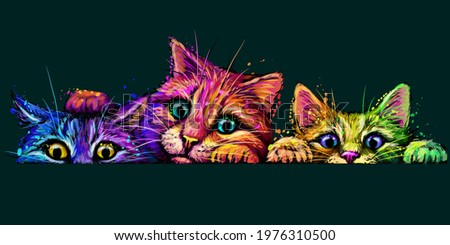 cats wall sticker abstract
