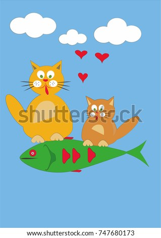 cats with fish