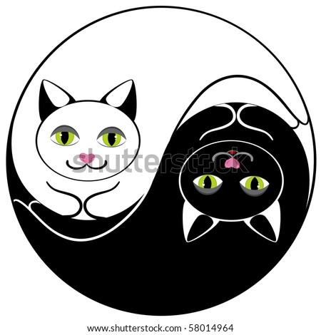 Cats ying yang symbol of harmony and balance