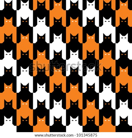 CatsTooth Halloween Pattern repeats seamlessly. Cats' eyes are on separate layer. Pattern is in Swatches Palette.