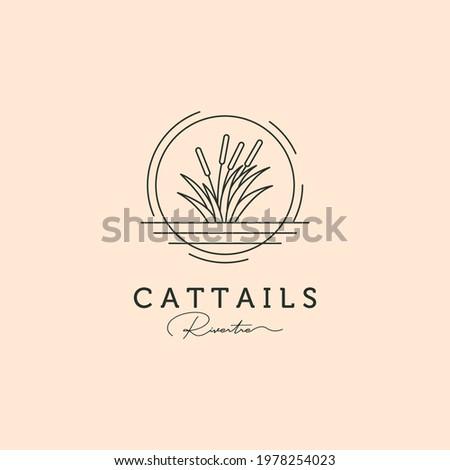 cattail grass line art logo vector symbol illustration design, river tree minimal logo design Foto stock ©