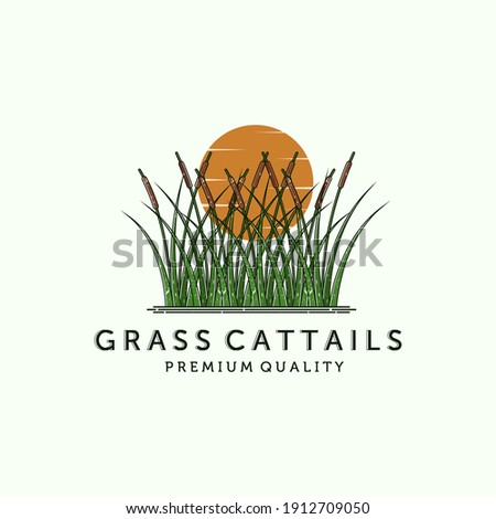 Cattail or Reed Logo Vector Illustration Design. Cattail Modern Vintage Illustration Logo Design. Creative Cattail Illustration Logo Concept. The Best Quality Grass Cattail Logo Design Stockfoto ©