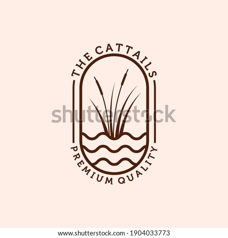 Cattail or Reed Logo Vector Illustration Design. Simple Modern Minimalist Cattail Logo Design. Creative Cattail Illustration Logo Concept Stockfoto ©