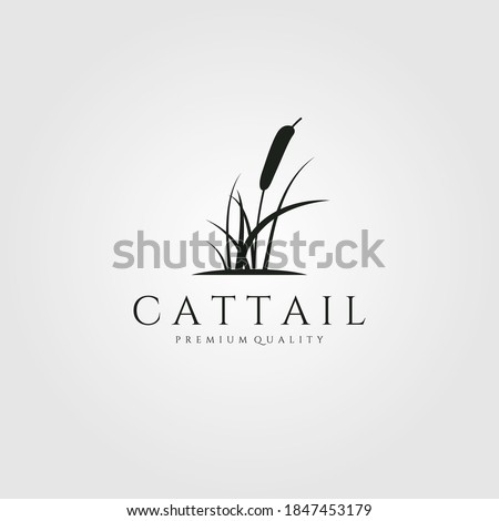 cattail premium logo vector illustration design, cattail silhouette vector design Stockfoto ©