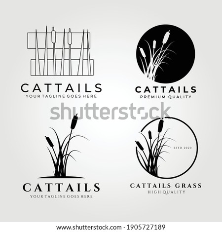 Cattails logo set bundle vector illustration design, cattail icon Stockfoto ©