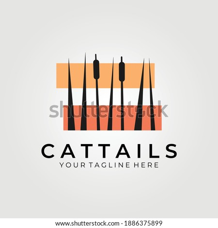 cattails logo vector illustration design , background wallpaper Stockfoto ©