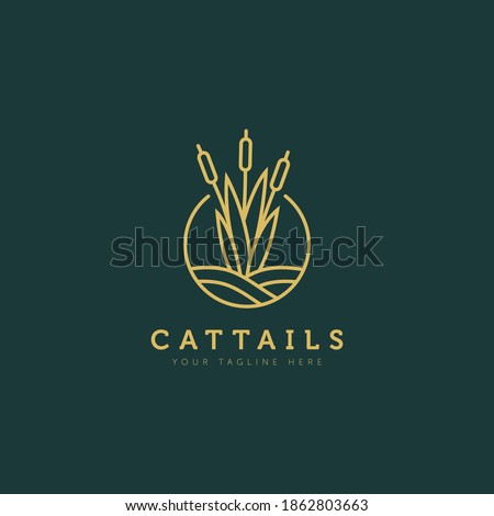 cattails plant above the water minimalist flat design logo illustration design template Stockfoto ©