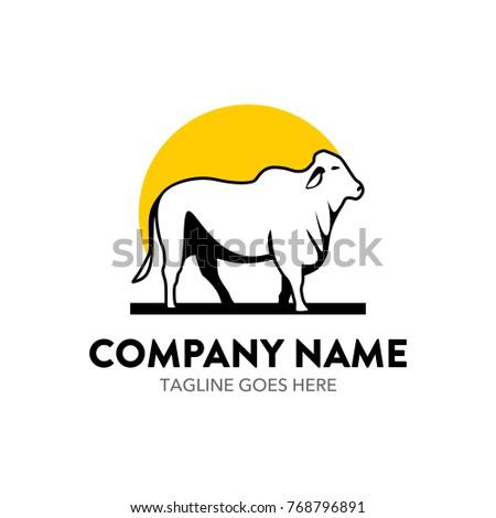 cattle farm logo vector illustration. unique. editable