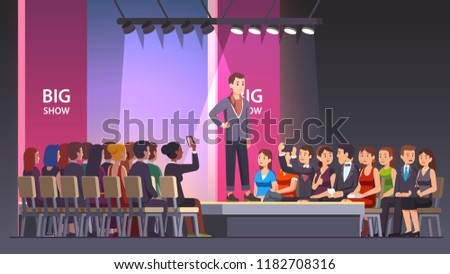 Catwalk model man showing fashionable suit and walking on runway. Audience crowd watching big fashion show. Fashion runway exhibition model podium or stage. Flat vector illustration isolated