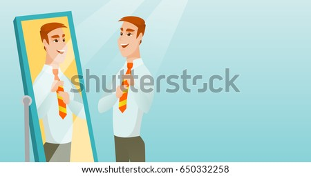 Caucasian businessman adjusting tie in front of the mirror. Business man looking at himself in the mirror. Man checking his appearance in the mirror. Vector flat design illustration. Horizontal layout