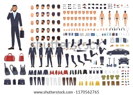 Caucasian businessman or clerk creation set or DIY kit. Bundle of male cartoon character body parts, office clothes, faces isolated on white background. Colorful vector illustration in flat style.
